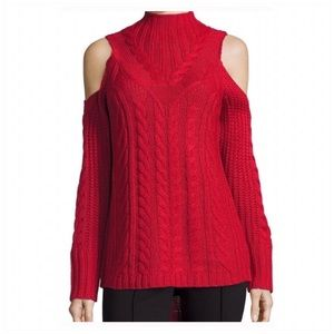 Nicole Miller Red Cold Shoulder Mock-necK SWEATER